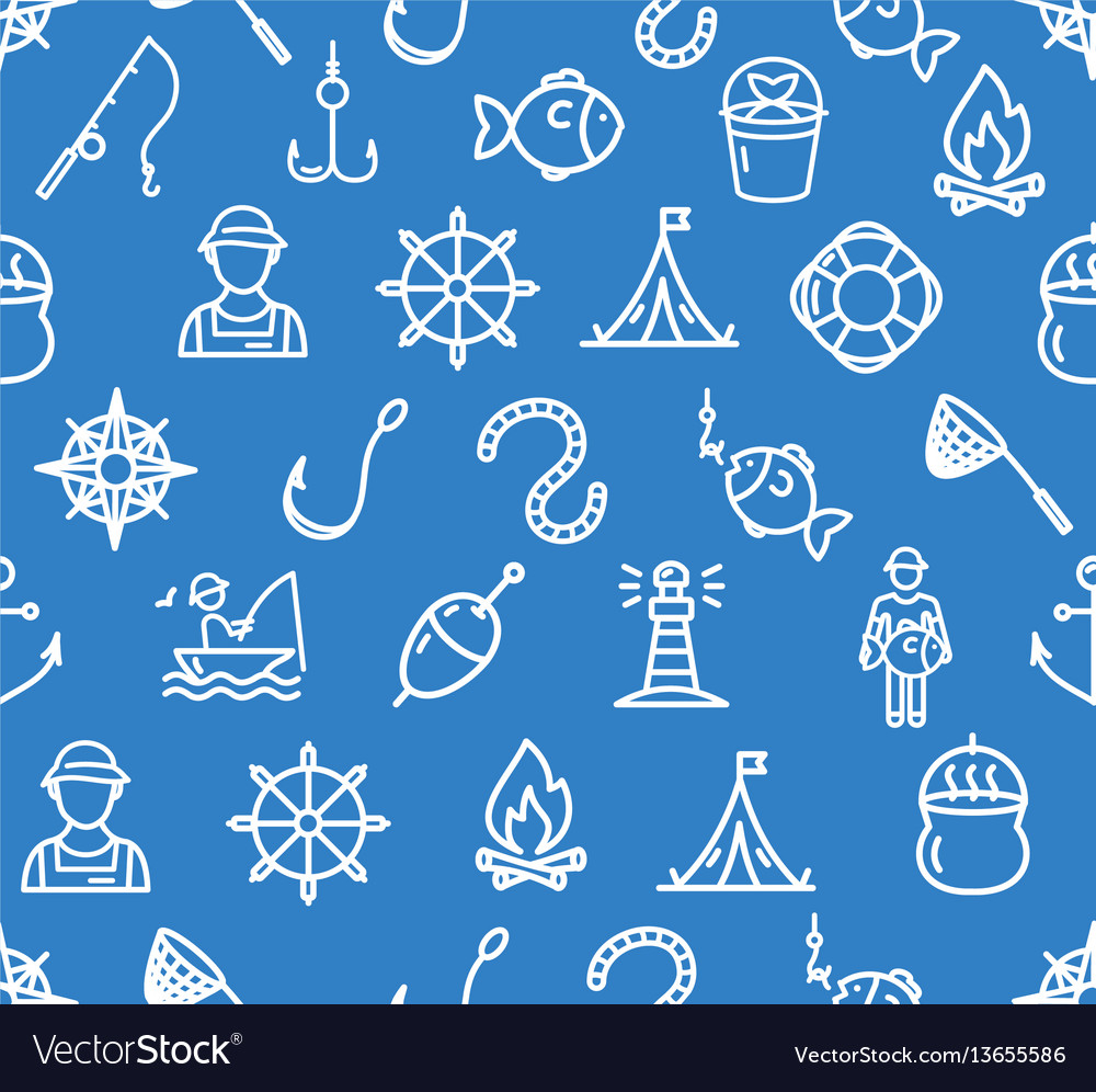 Fishing sport and leisure pattern background vector image