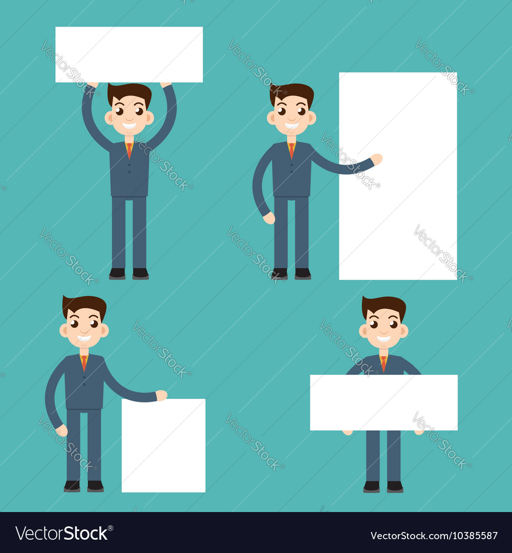 Businessman with banners white empty vector image
