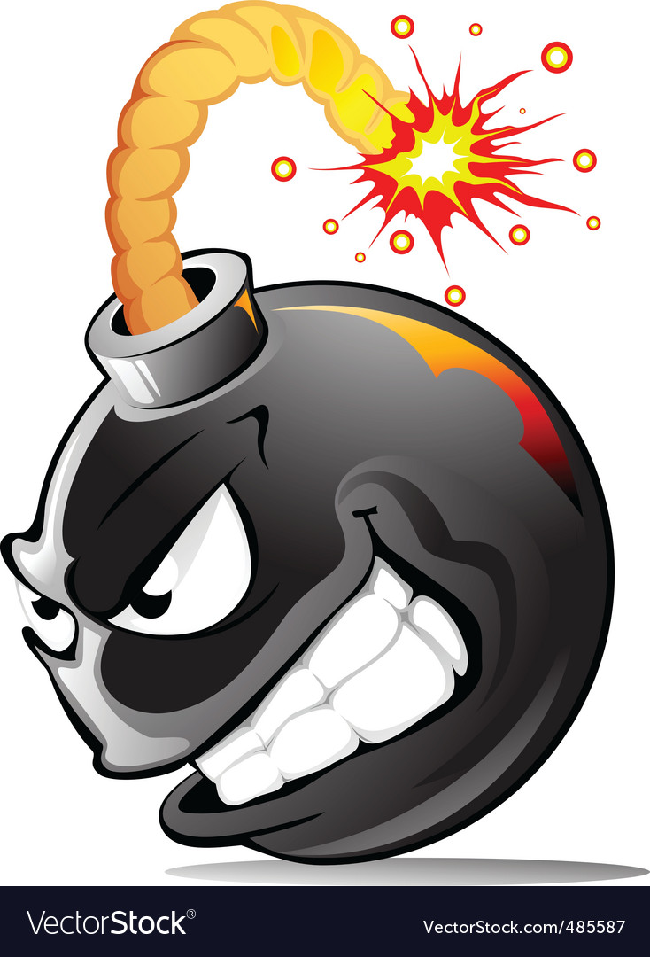 Cartoon evil bomb vector image