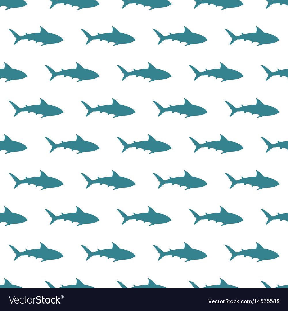 Blue sharks seamless pattern on white vector image