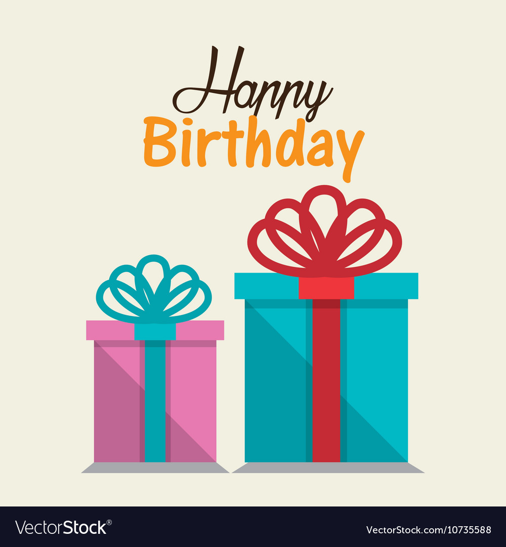 Gift box card birthday party vector image