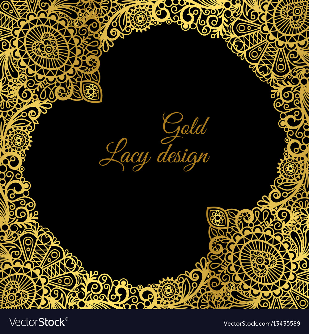 Gold lacy ornamental card design vector image