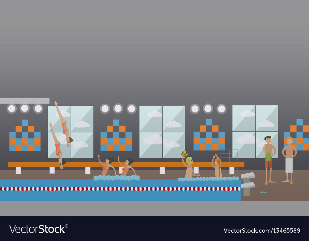Swimming pool water sports concept vector image
