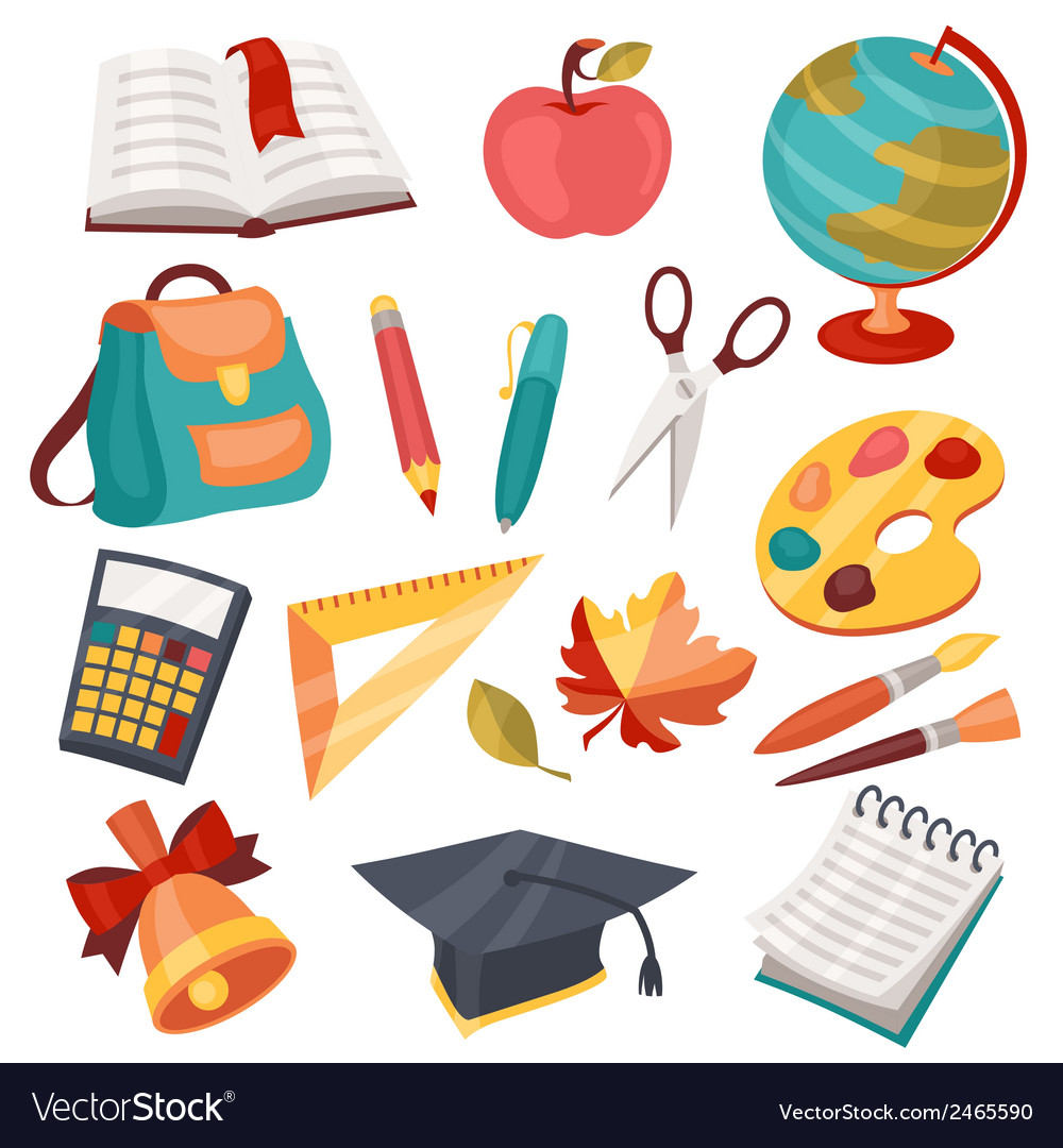 School and education icons symbols objects set vector image buycottarizona Image collections
