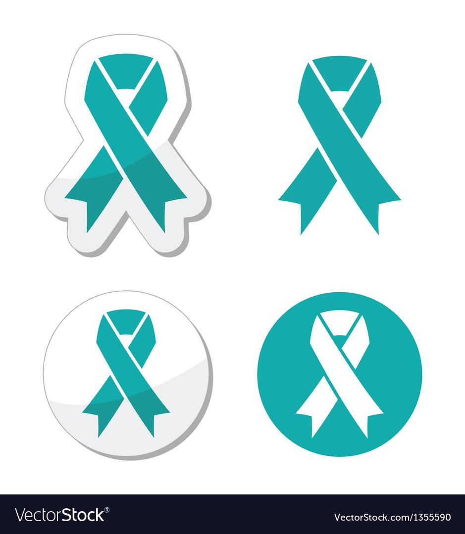 Teal ribbon - ovarian cervical uterine cancer vector image