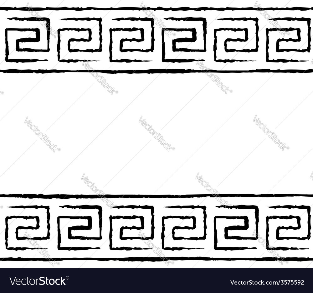 Black and white greek seamless pattern vector image