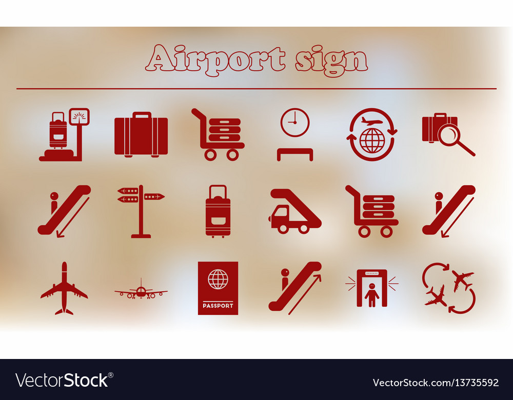 Warning sign of low flying aircraft set icons