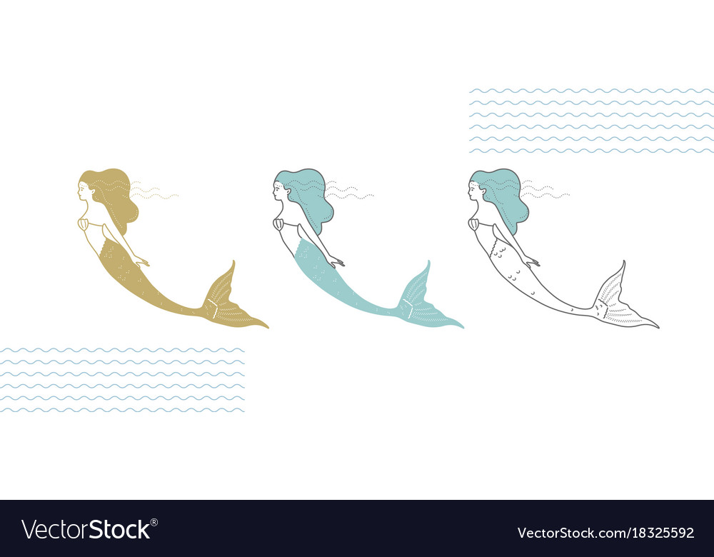 Line Art Illustration Style : Mermaids in a modern minimalist style line art vector image