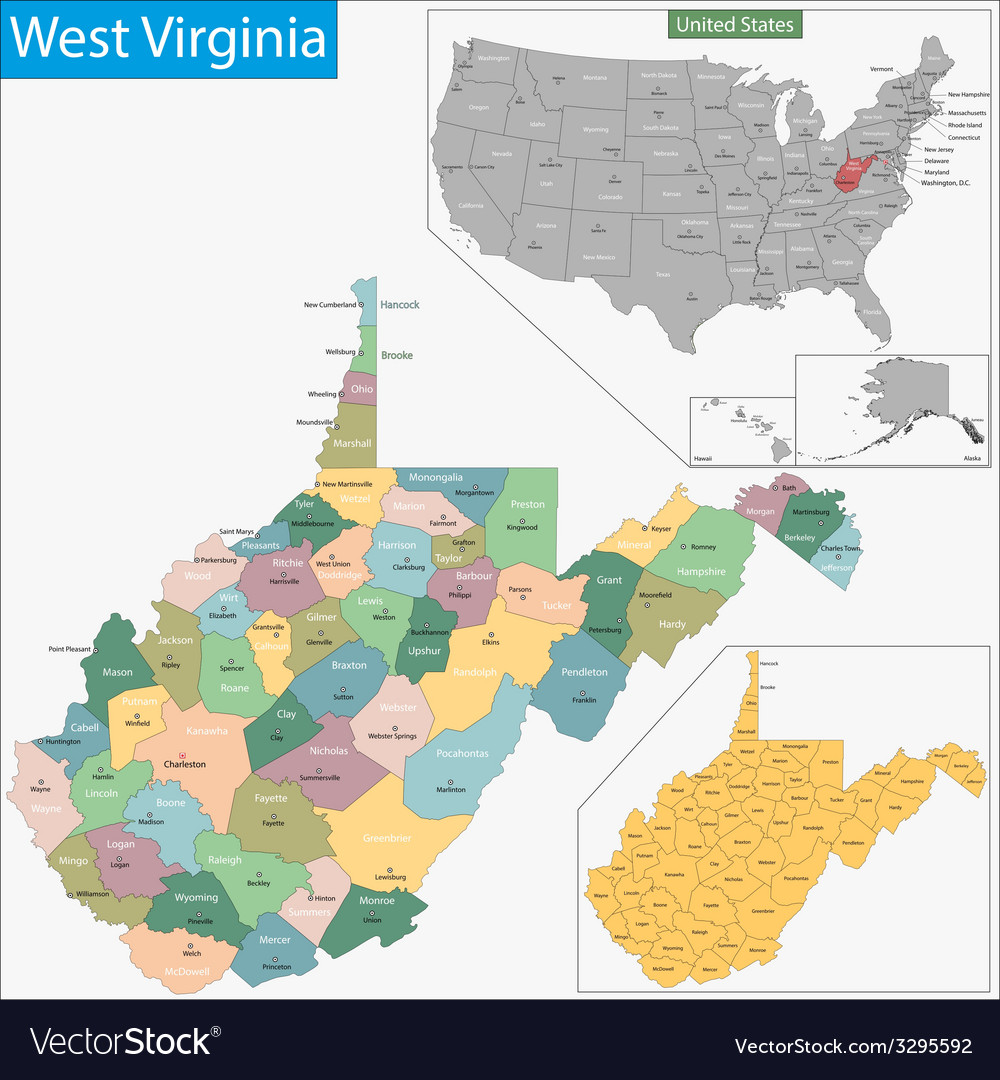West Virginia map Royalty Free Vector Image VectorStock