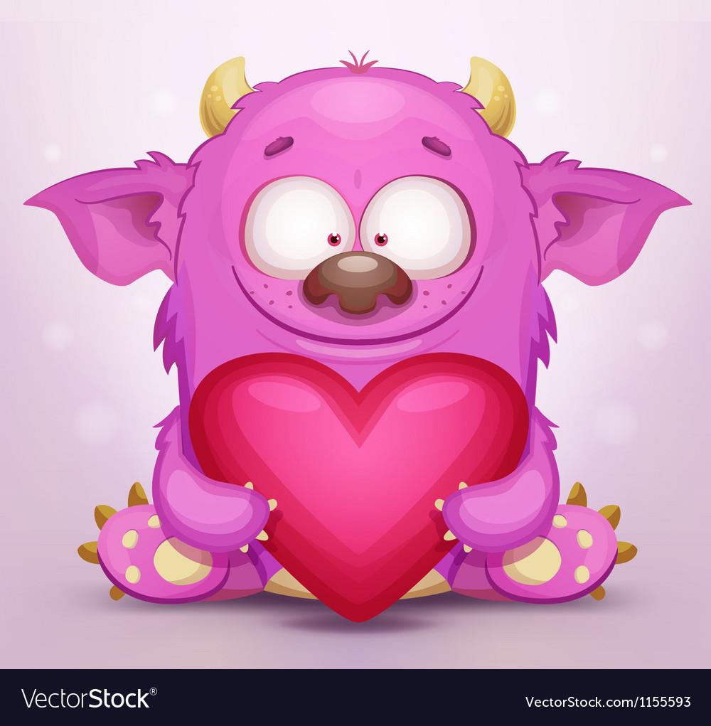 Monster in Love Vector Image