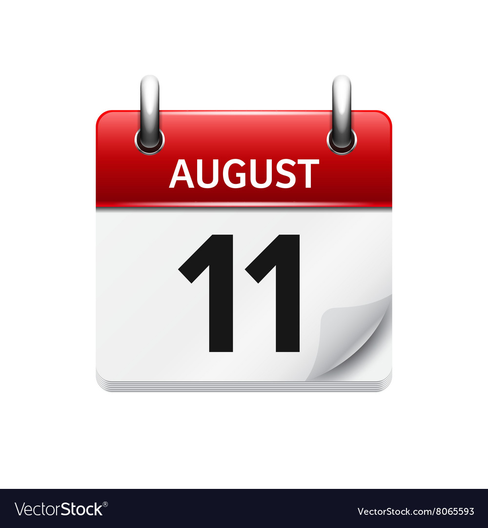 August 11 Flat Daily Calendar Icon Date Vector Image