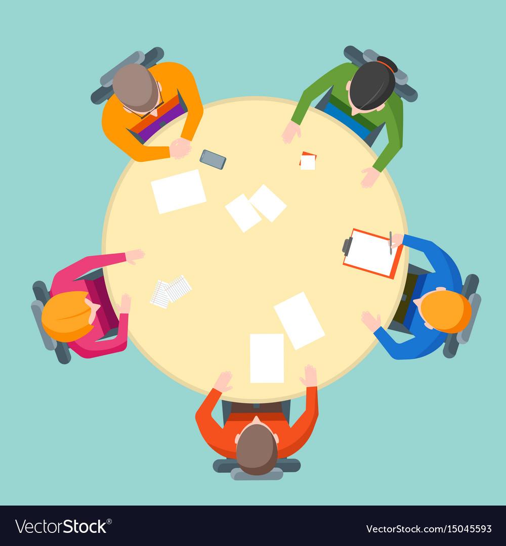 Cartoon team meeting table vector image