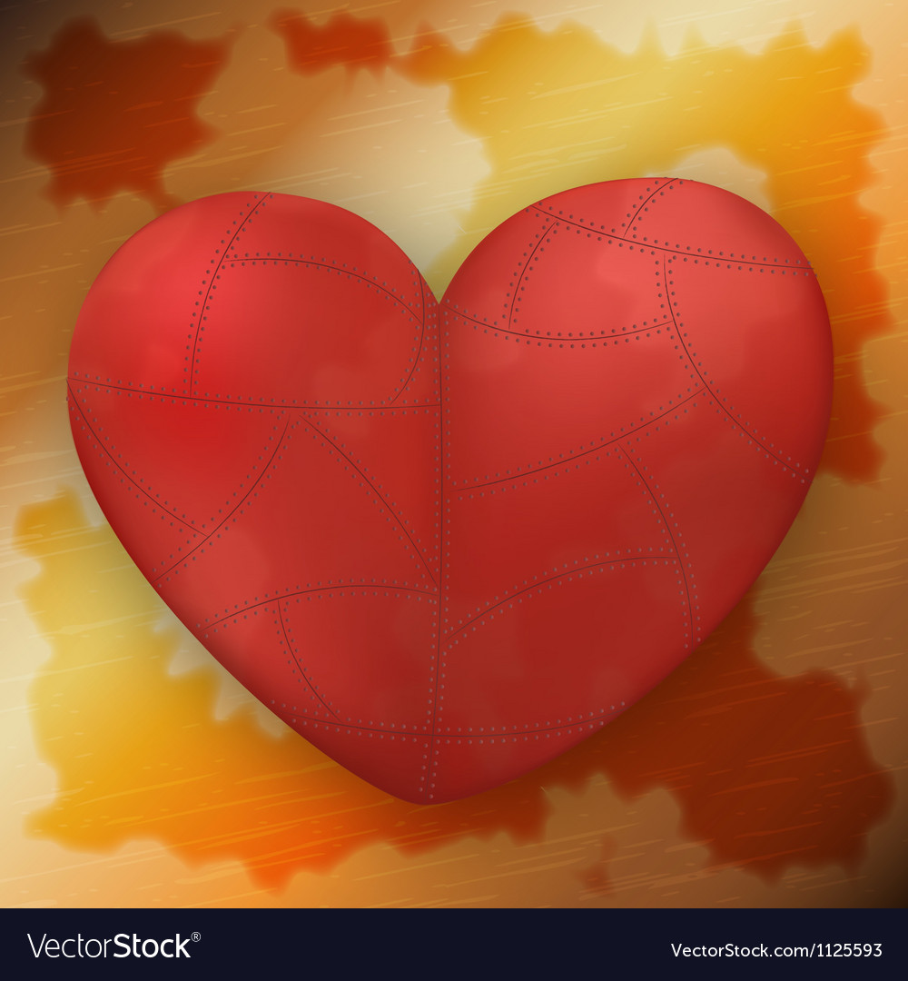 Metallic heart on rusty metal plate vector image