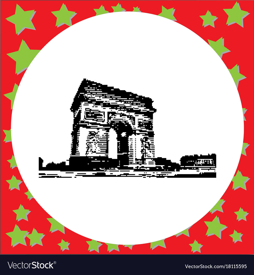 Black 8-bit arc de triomphe at paris france vector image