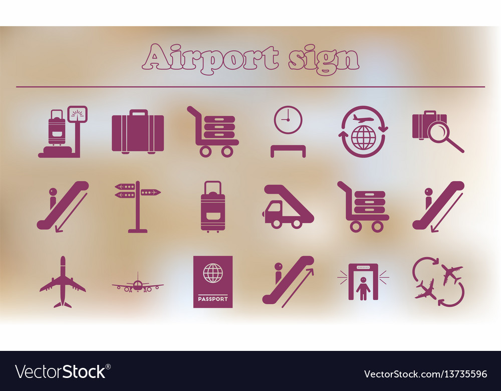 Collection of airport signs travel transport set