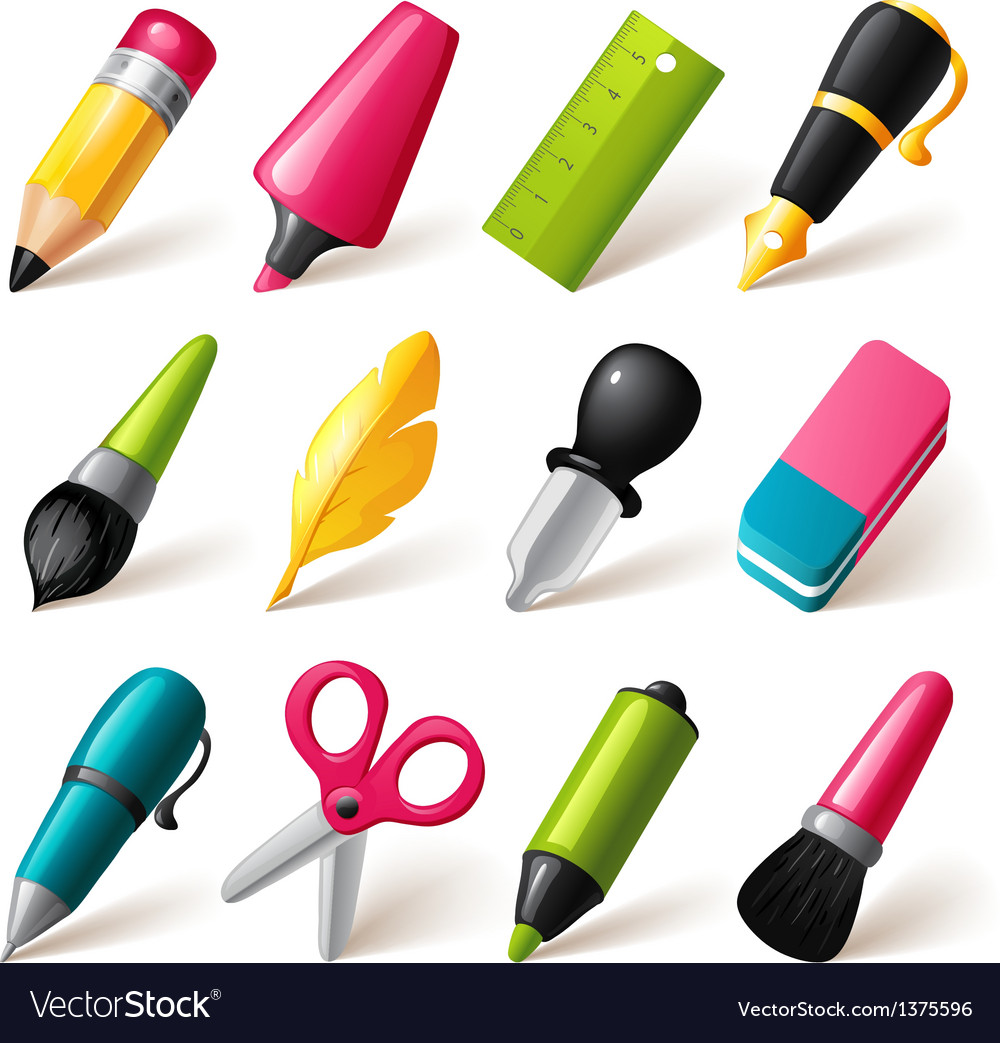 Drawing and Writing tools icon set vector image