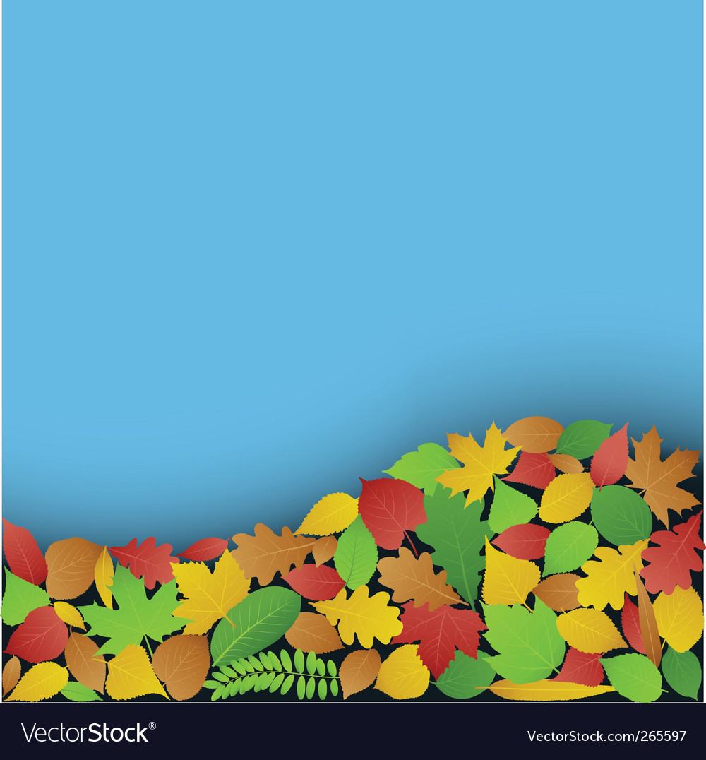 Green and autumn leaves backer vector image