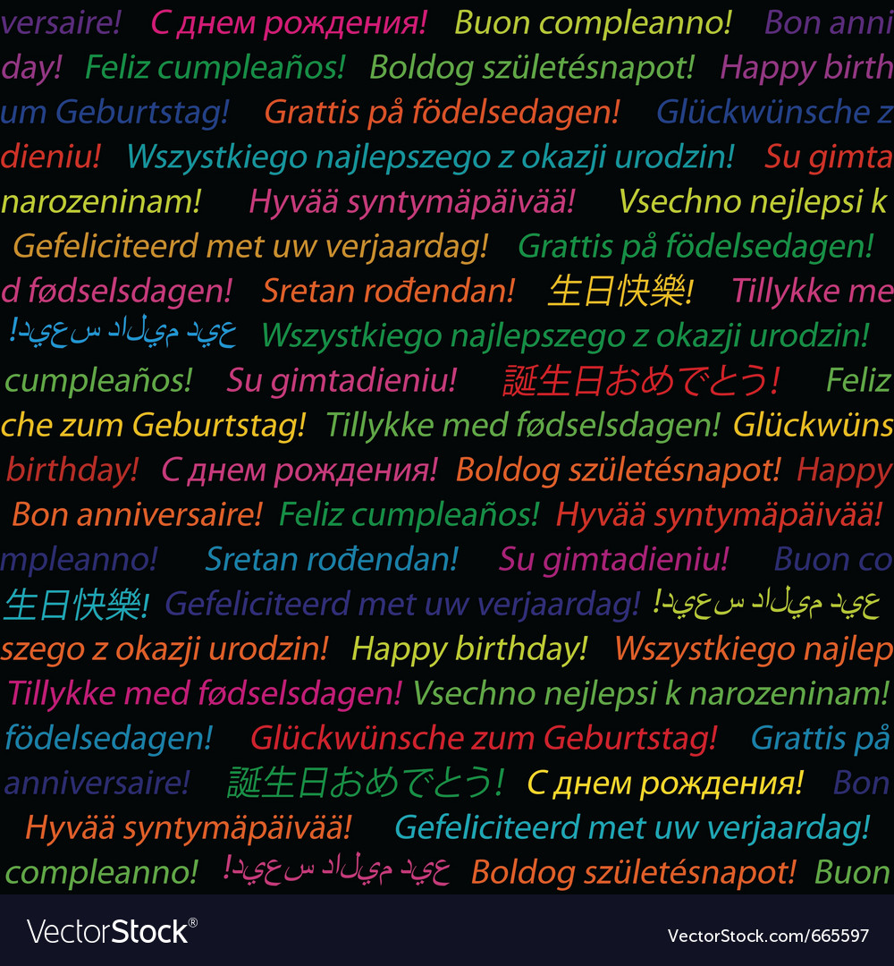 Happy birthday in different languages vector image