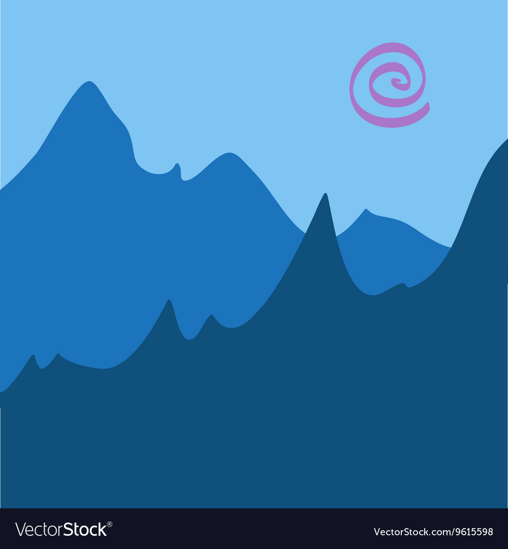 Blue Mountain Scenery Drawing vector image