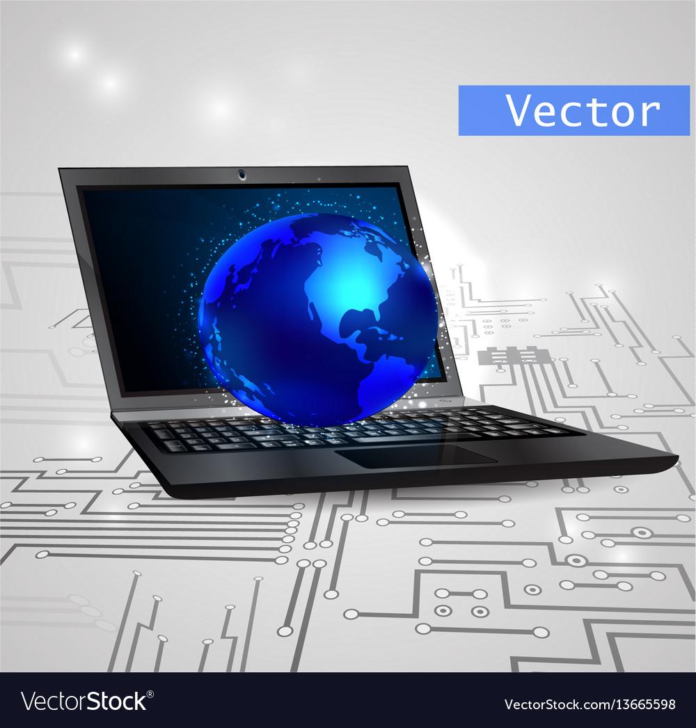 Laptop isolated on white background vector image