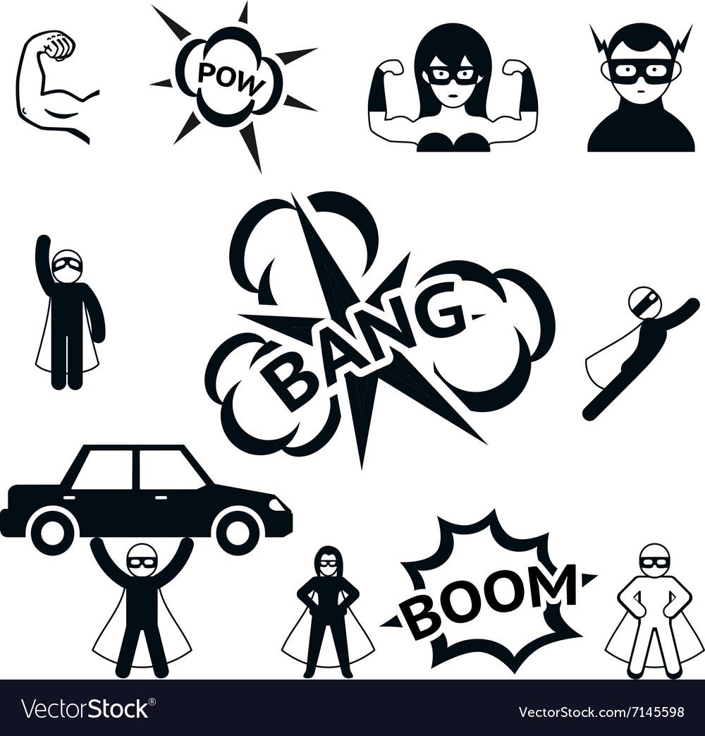 Super hero icons set vector image