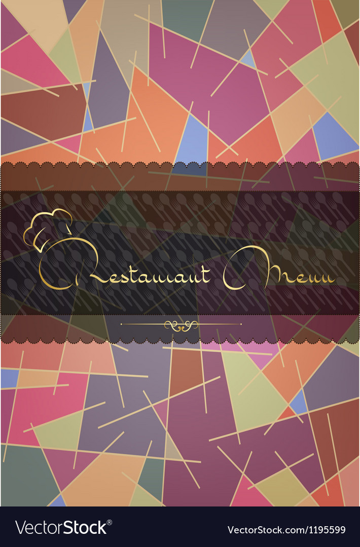 Astract restaurant menu cover vector image