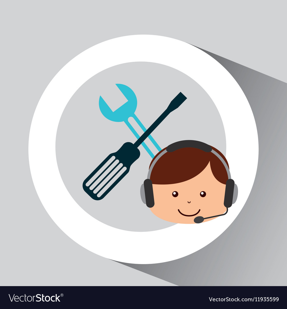 Guy operator help service technical support vector image