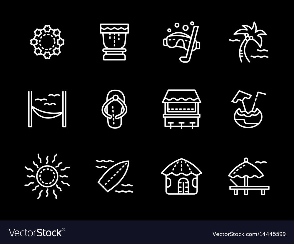 Hawaii white line icons set vector image