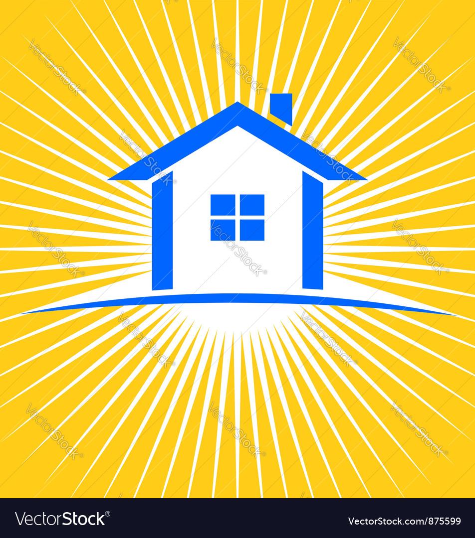 House sunburst logo vector image