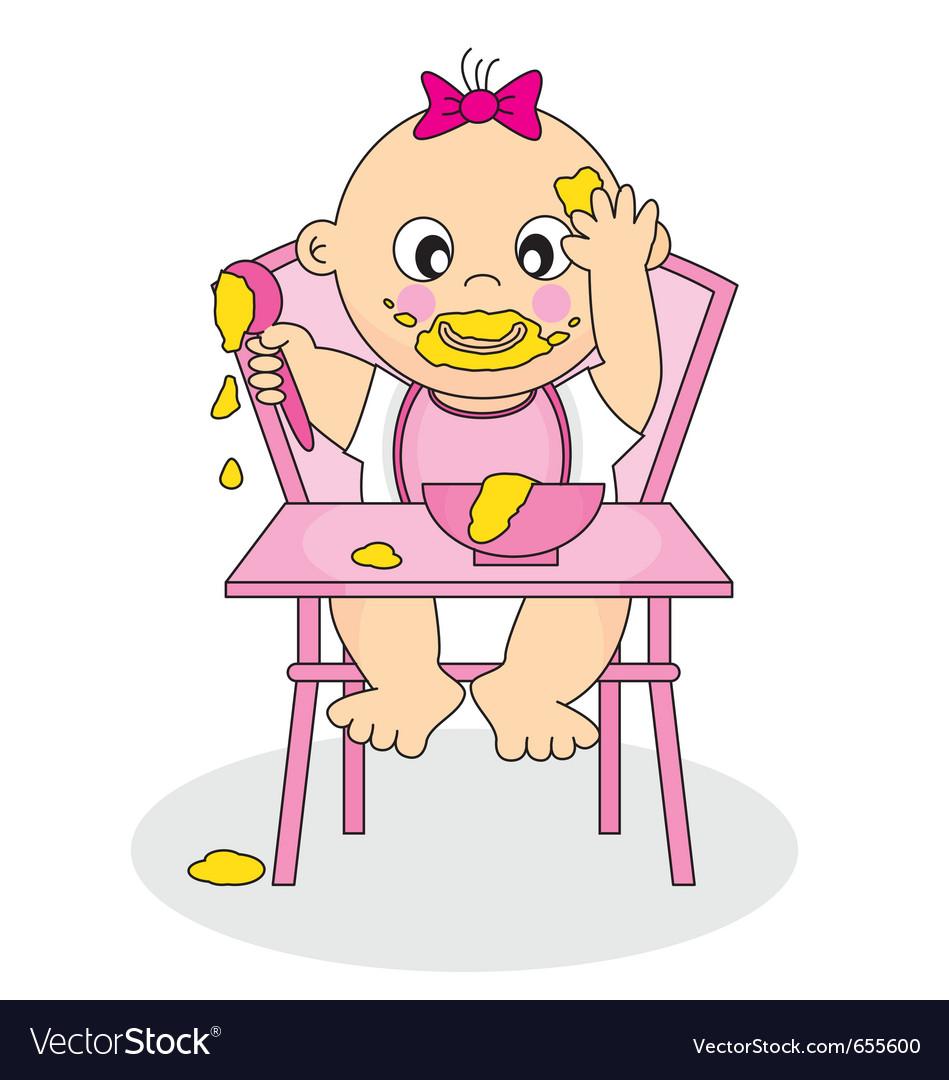 Baby girl eating vector image
