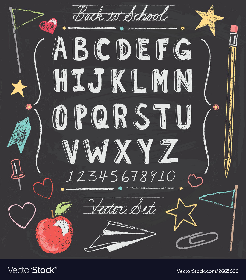 Vintage Back To School Chalkboard Hand Drawn Set vector image