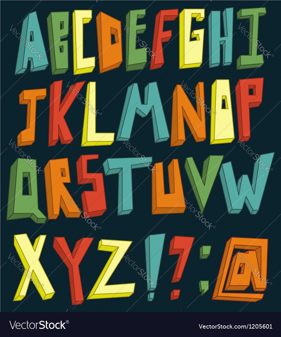 Colorful 3d alphabet vector image
