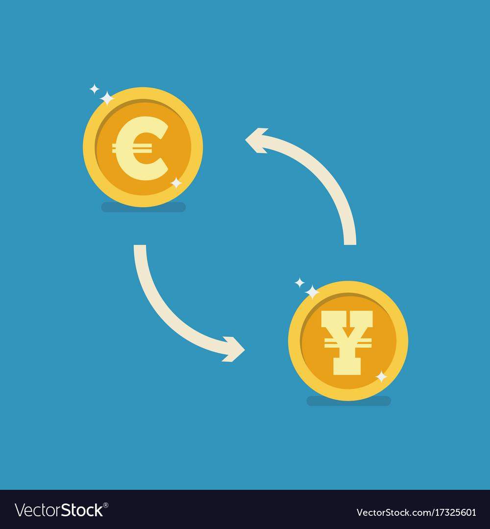 Euro and yen currency exchange vector image