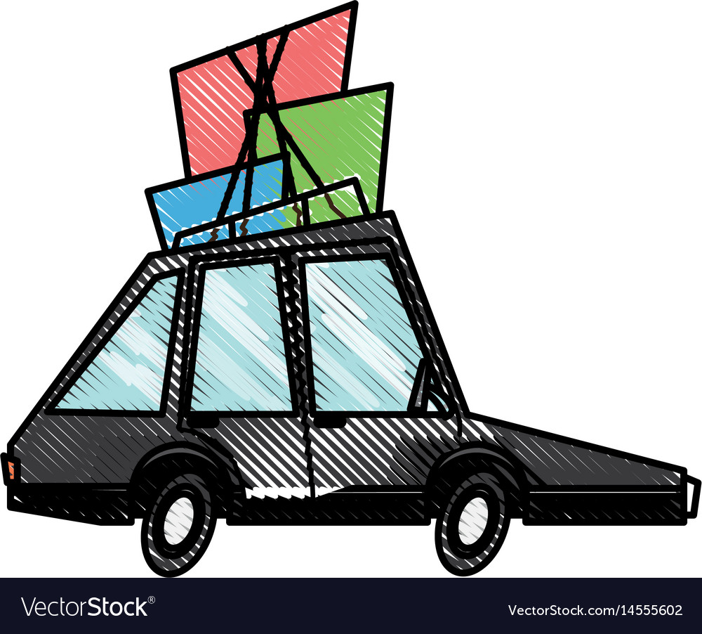 Drawing car transport family package tourism Vector Image