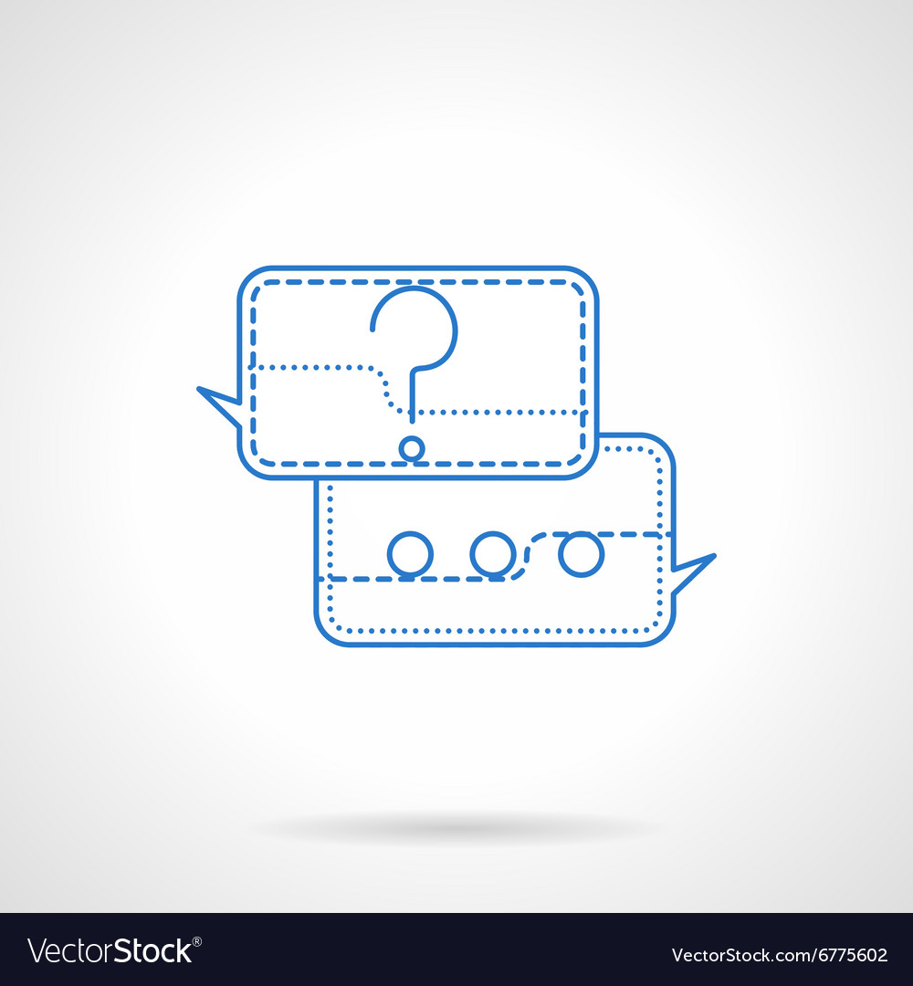 Question and answer blue flat line icon vector image
