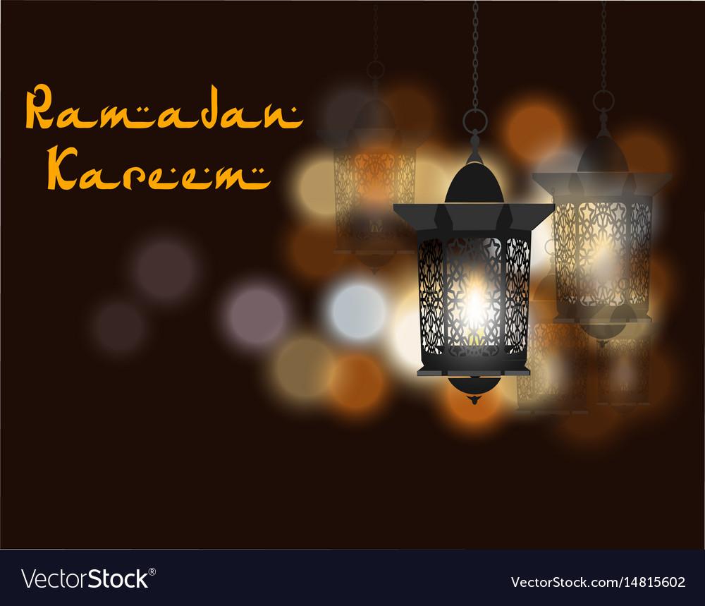 Ramadan kareem inscription three flashlights in vector image
