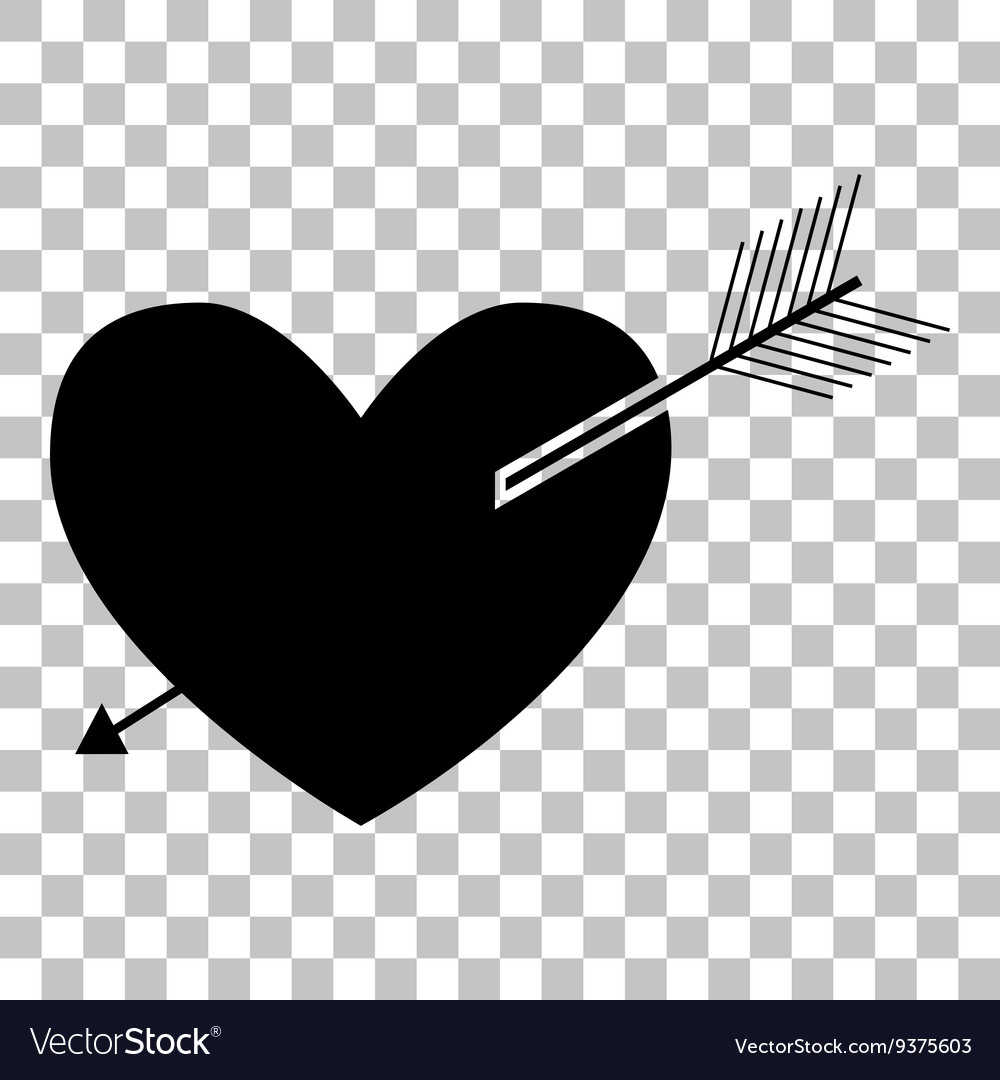 Arrow heart sign Flat style black icon on vector image