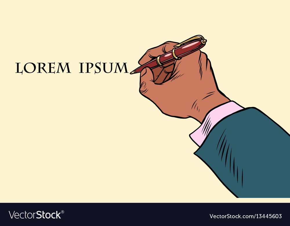 Businessman signs a document with a pen vector image