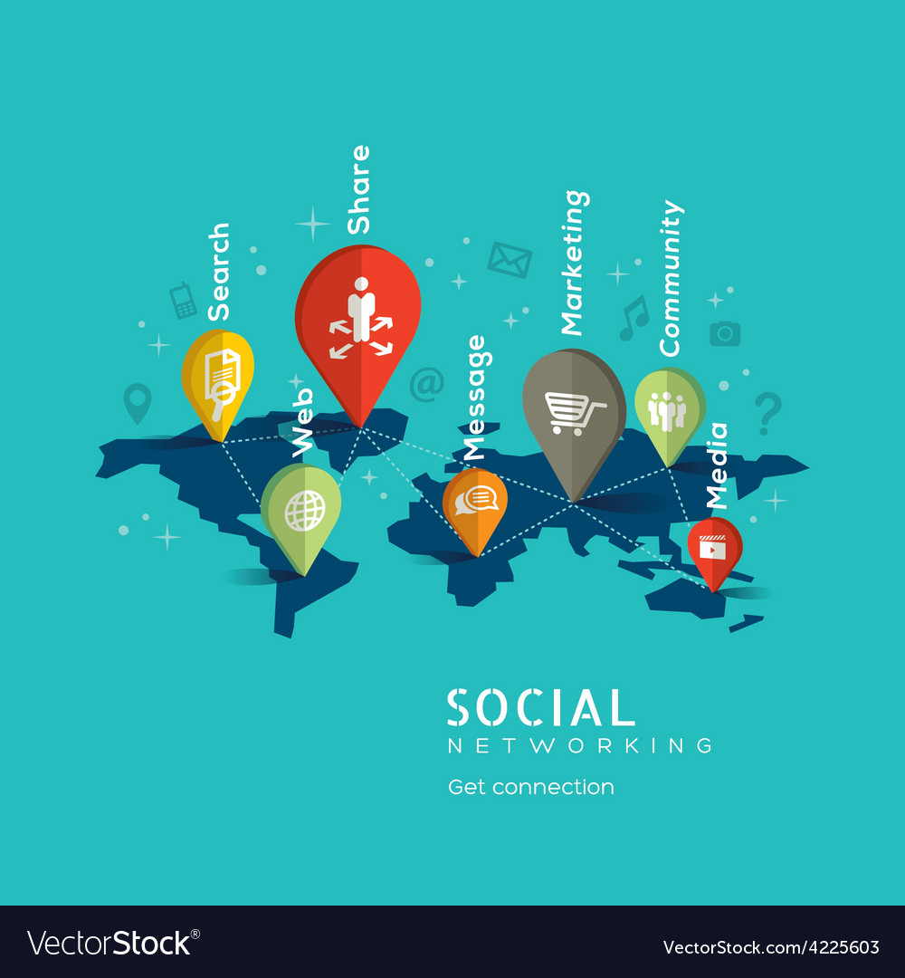 Social Networking with pin icons on world map vector image