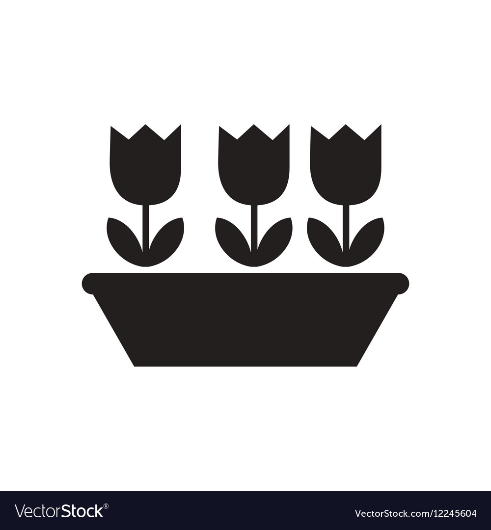 Flat icon in black and white netherlands tulips