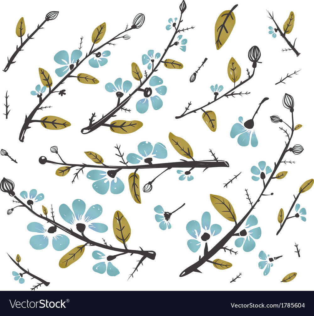 Flowers and Leaves Branches for Decoration Set vector image
