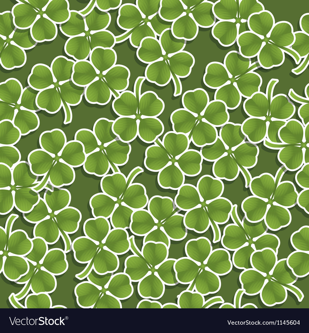 Four leafed clover pattern vector image