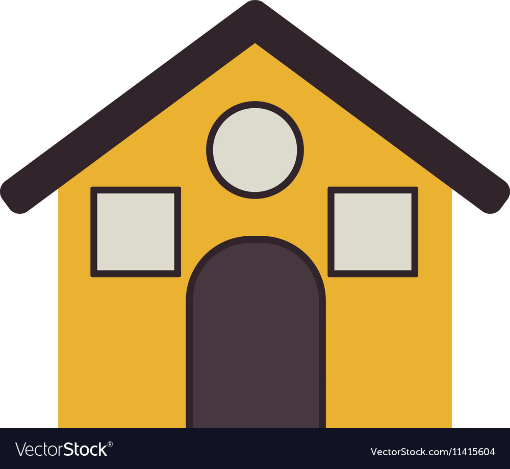 Yellow house with roff and windows vector image