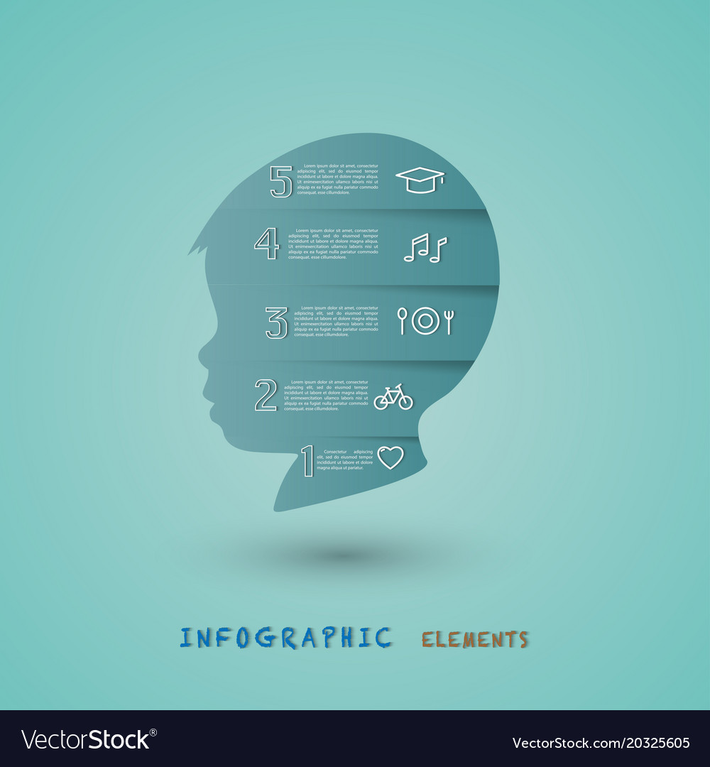 Infographic elements with child head improvement a vector image