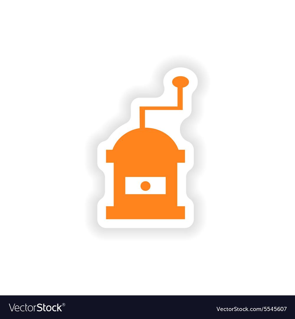 Icon sticker realistic design on paper coffee mill
