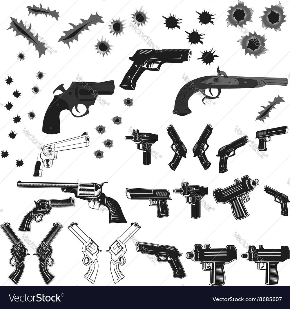 Guns and bullet holes set vector image