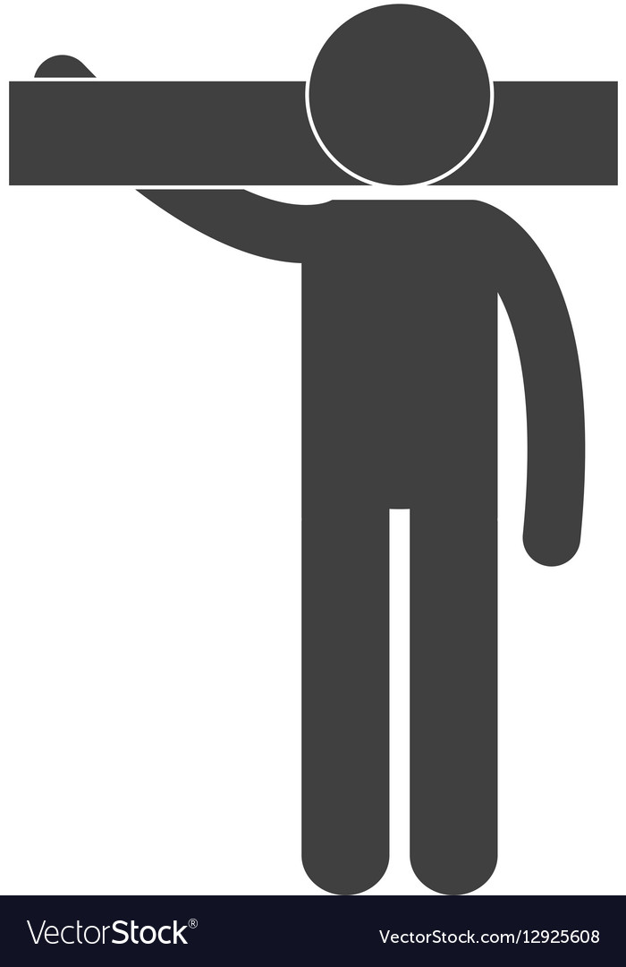 Man carrying tool work figure pictogram vector image