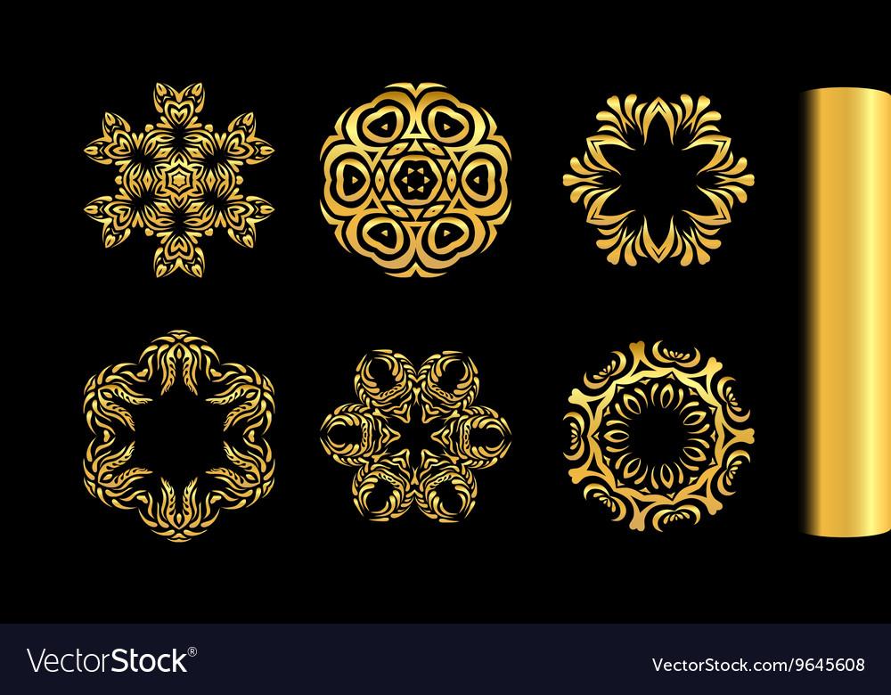 Ornamental gold round lace design vector image