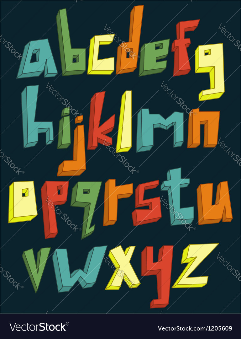 Colorful 3d lower case alphabet vector image
