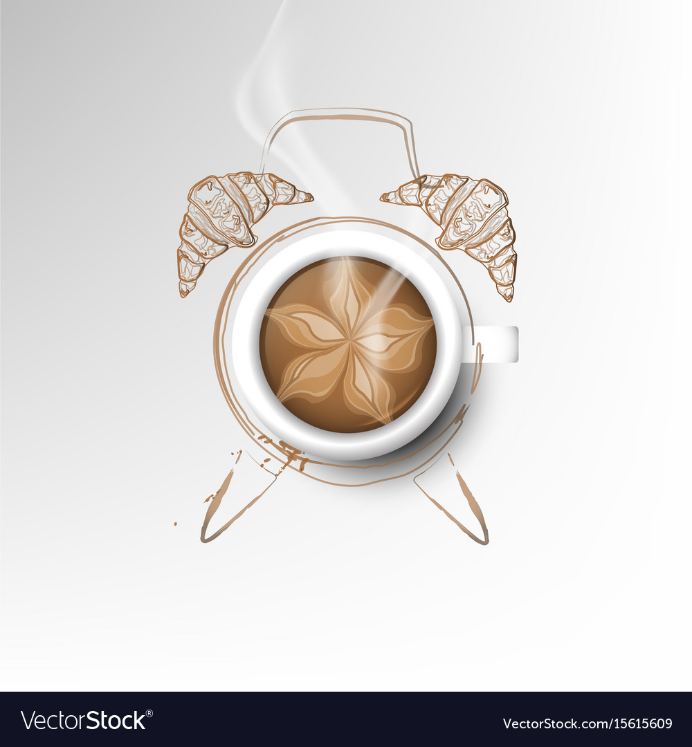 Isolated cup of coffee collection latte time vector image